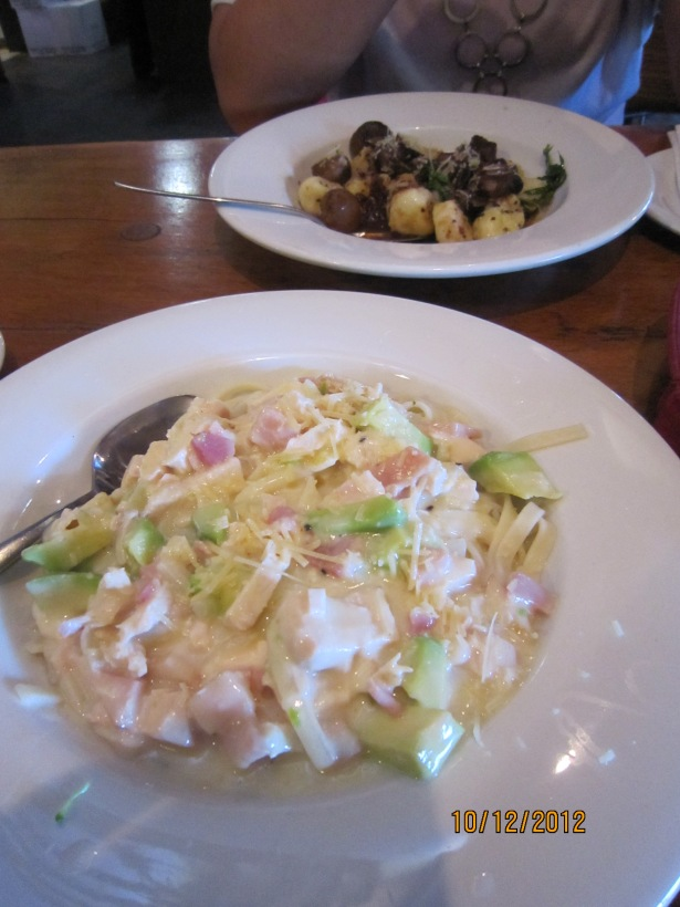 Lunch! Chicken Royale fettuccini with bacon and avocado, and potato and cheese gnocchi with lamb and mushroom ragout. yummy!